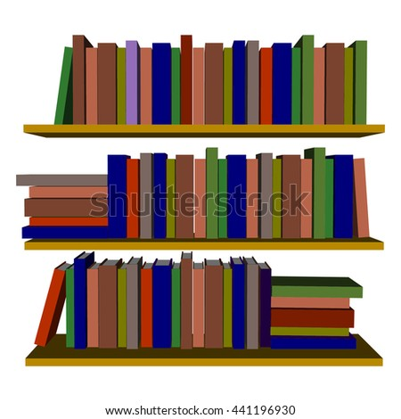 Books on bookshelf isolated. Vector illustration on a white background.