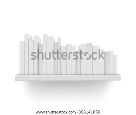 Books on the shelf - stock vector