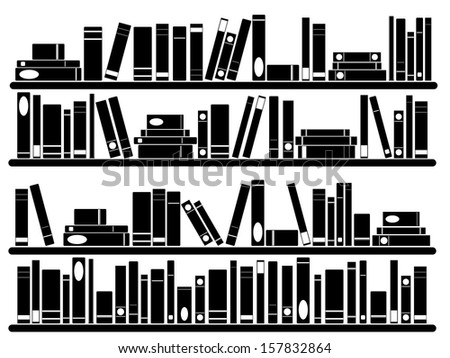Books on the shelves illustrated on white - stock vector