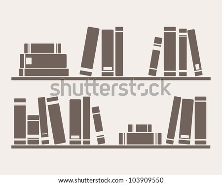 Books on the shelves simply retro vector illustration. Vintage hand drawn book objects for banner, logo or website design elements - stock vector