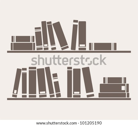 Books on the shelves simply retro vector illustration. Vintage objects for decorations, background, textures or interior wallpaper. Sign, symbol, logo, banner or flat design element - stock vector