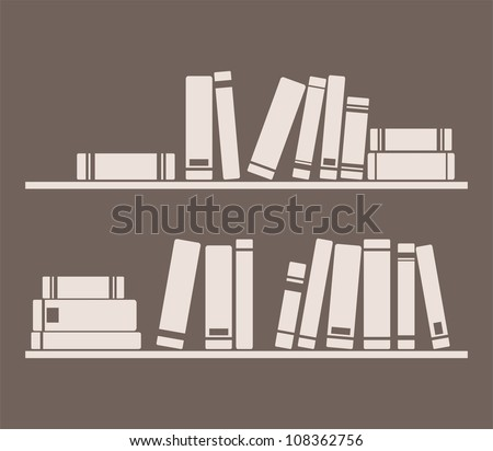 Books on the shelves simply vector retro illustration. Vintage school library objects and wisdom symbol on dark chocolate brown background for decorations, textures or interior design wallpaper.