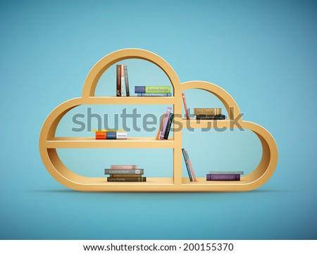 books on wooden shelf cloud shape eps10 vector illustration - stock vector