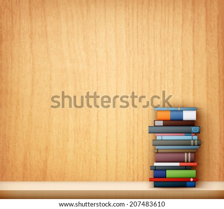 books on wooden shelf eps10 vector illustration - stock vector