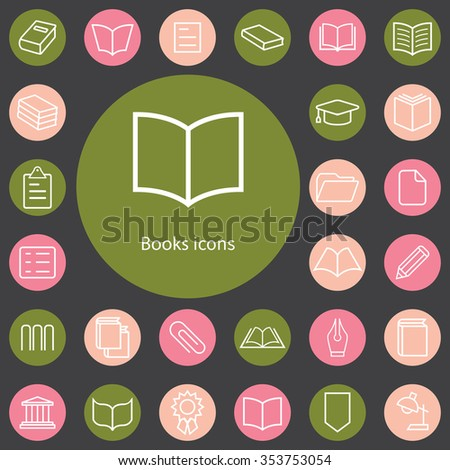 books outline, thin, flat, digital icon set for web and mobile