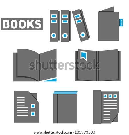 books set, icon set, vector - stock vector