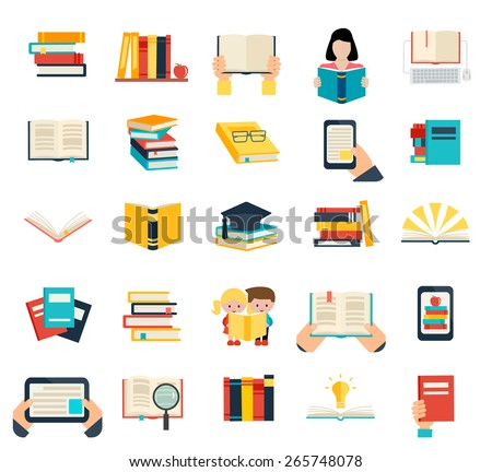 Books set in flat design style isolated on white background, vector illustration. Icons set includes opened book, books stack, person reading book, e-book etc. - stock vector
