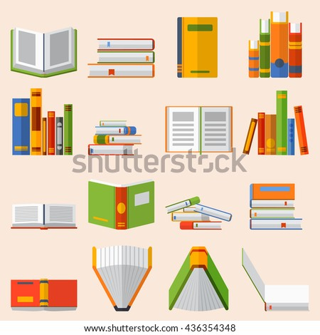 Books set in flat design style vector illustration. Academic books learning symbol, reading school sign. Knowledge collection design isolated science university text books cover information. - stock vector