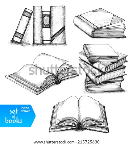 Books set. Opened and closed books, books on the shelf, stacked books and single book isolated on white background.  - stock vector