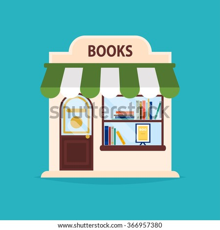 Books shop facade. Vector illustration of books shop building. Ideal for books shop business web publications and graphic design. Flat style vector illustration. - stock vector