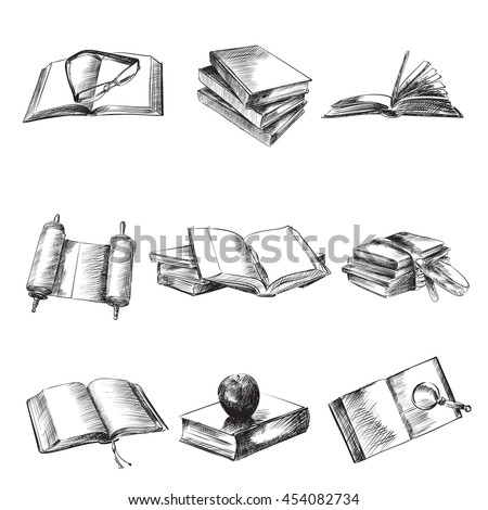 Books sketch vector illustration set, open old books, notebooks, glasses, apple, magnifier, drawing isolated on white background