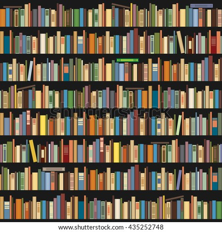 Books standing in a row on a dark background. Seamless background - stock vector