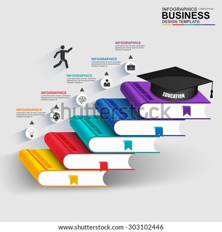 Books step business education infographic can stock vector 303102446 books step business education infographic can be used for workflow processes banner diagram ccuart Image collections