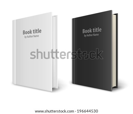 Books templates with white and black covers. Eps10 vector illustration isolated on white background - stock vector