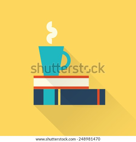 books with a cup - stock vector