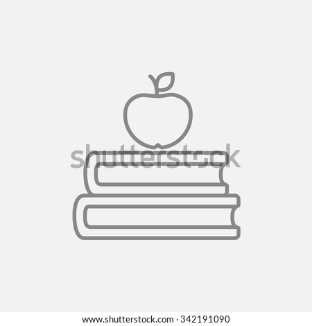 Books with apple on the top line icon for web, mobile and infographics. Vector dark grey icon isolated on light grey background. - stock vector