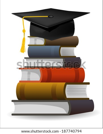 Books with the graduation cap Six books and graduation cap as symbol of graduation. Editable vector illustration.  - stock vector