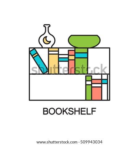 Bookshelf line icon high quality outline stock vector for Interior design web app