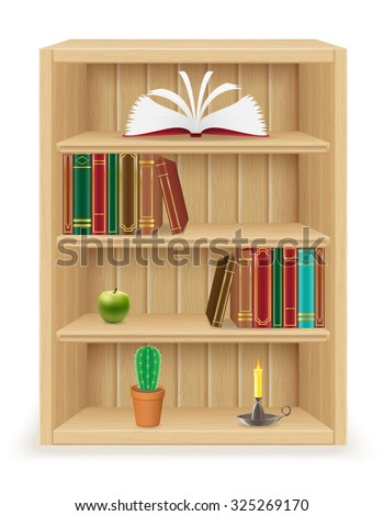 bookshelf furniture made of wood vector illustration isolated on white background - stock vector