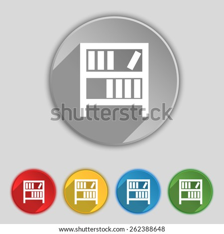 Bookshelf icon sign. Symbol on five flat buttons. Vector illustration - stock vector