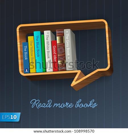 Bookshelf in the form of speech bubble, vector Eps10 illustration. - stock vector