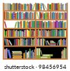 Bookshelf with ancient and modern books isolated on white for education design. Jpeg version also available in gallery - stock photo