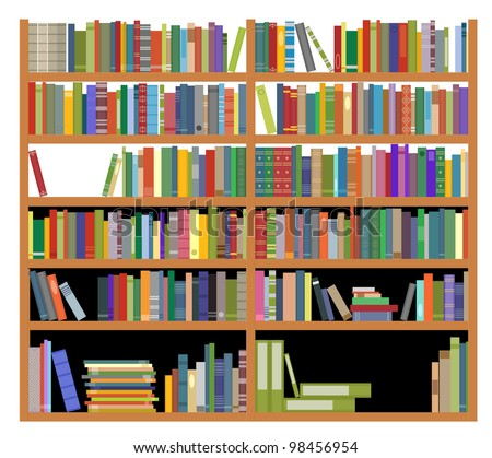 Bookshelf with ancient and modern books isolated on white for education design. Jpeg version also available in gallery - stock vector
