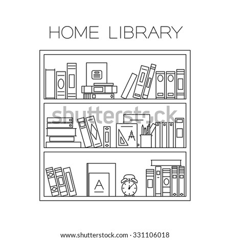 Bookshelf with books, alarm clock and cup with pencils. Vector thin line illustration. - stock vector