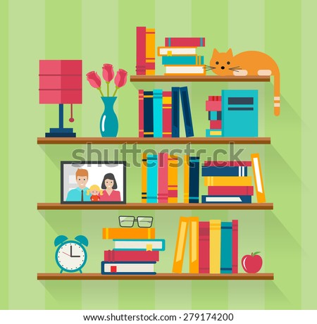 Bookshelves with books in room interior. Home library with literature, vector illustration - stock vector
