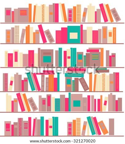 Bookshelves with books. Vector illustration - stock vector