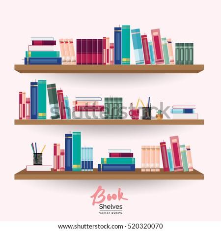 Bookshelves Colorful Books Stationery On Pastel Stock Vector ...