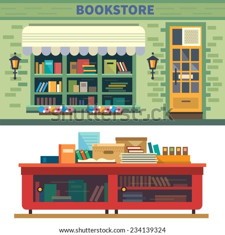 Bookstore. Books, science, knowledge. Storefront and a shelf with books. Vector flat illustration - stock vector