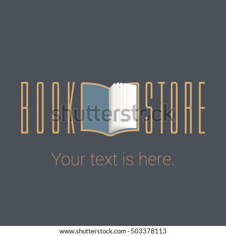 Bookstore, bookshop vector emblem, sign, symbol, logo, icon. Template design element with open book for business related to books - publishing, studying, e-books