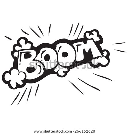 Boom Bomb Sign Doodle - stock vector