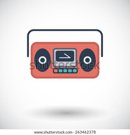 Boom box. Single flat icon on white background. Vector illustration. - stock vector