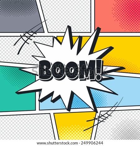 boom cartoon theme blasting speech - stock vector
