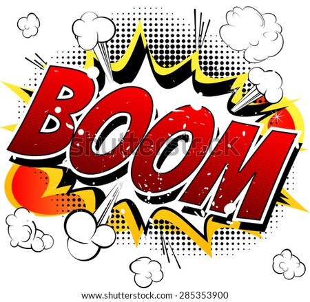 Boom - Comic book, cartoon explosion isolated on white background. - stock vector