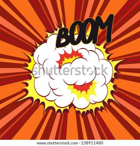 Boom. Comic book explosion, vector illustration - stock vector