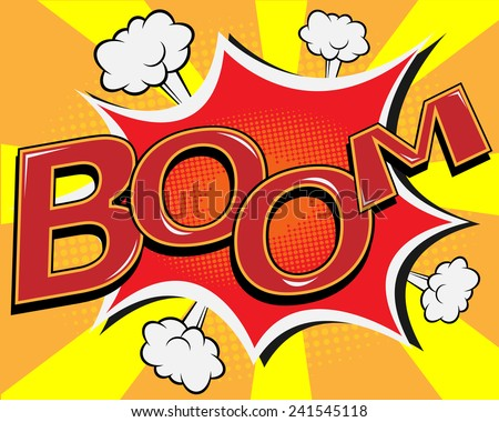 BOOM comic speech bubble, pop art cartoon vector