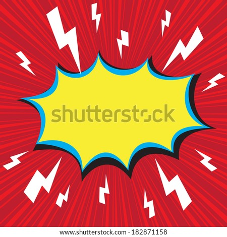 Boom comic speech bubble with radial speed, vector illustration - stock vector
