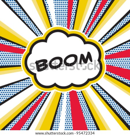 Boom, Pop art inspired illustration of a explosion - stock vector