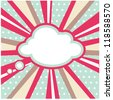 Boom, Pop art inspired illustration of a explosion cloud  pop art comic book style backdrop - stock vector