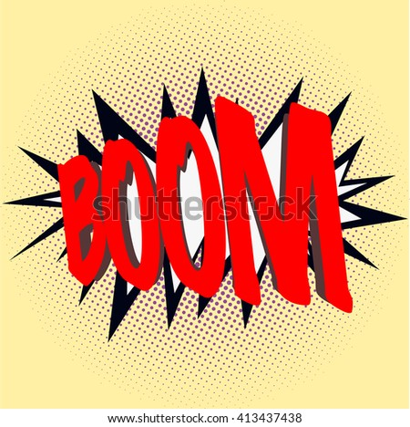 Boom sign. Comics style boom sign. Comic style. Black dots in various sizes on yellow background.