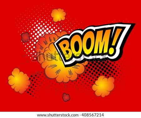 Boom! Vector Retro Comic Speech Bubble Boom, Cartoon Comics Template. Mock-up of Comic Book Design Elements. Sound Effects, Colored Halftone Background - stock vector