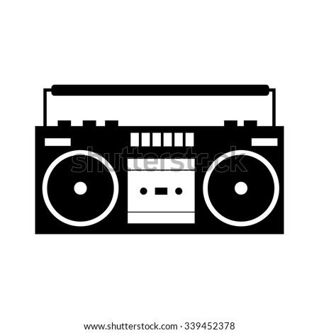 Boombox black simple icon isolated on a white  - stock vector