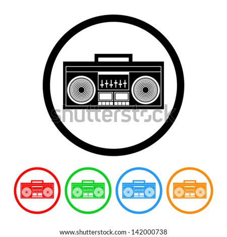 Boombox Radio Icon in Vector Format with Four Color Variations - stock vector
