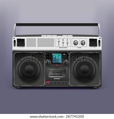 Boombox. Tape recorder  - stock vector