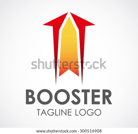 Booster rocket arrow up abstract vector logo design template grow business icon company identity symbol concept - stock vector