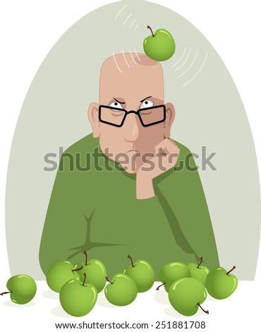 Boosting Creative Thinking. Gloomy man is hit on a head by an apple, metaphor for a creative block, vector illustration, no transparencies - stock vector