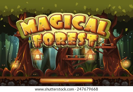 Boot screen to the computer game magic forest - stock vector